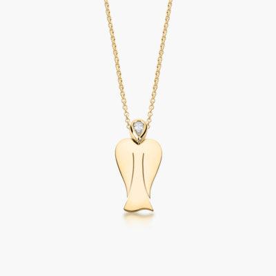 MyAngel Schutzengel-Anhänger mit Diamant in Gelbgold mit Kette (medium)