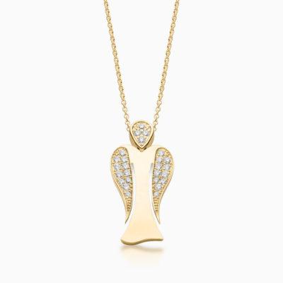 MyAngel partly pavé diamond guardian angel pendant