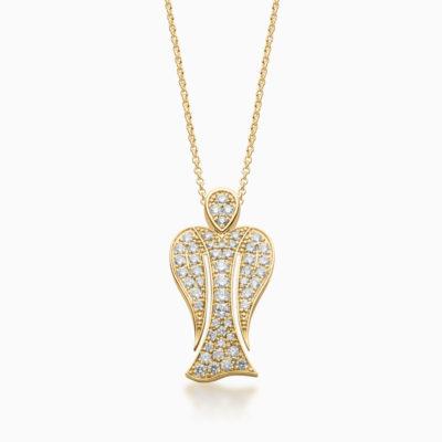 MyAngel pavé diamond guardian angel pendant