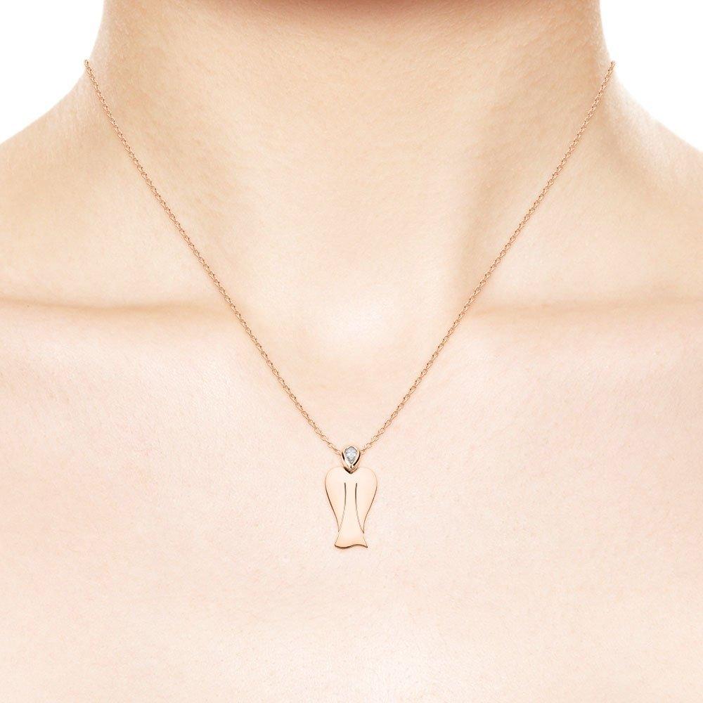 MyAngel Schutzengel-Anhänger mit Diamant in Rosègold mit Kette (small)