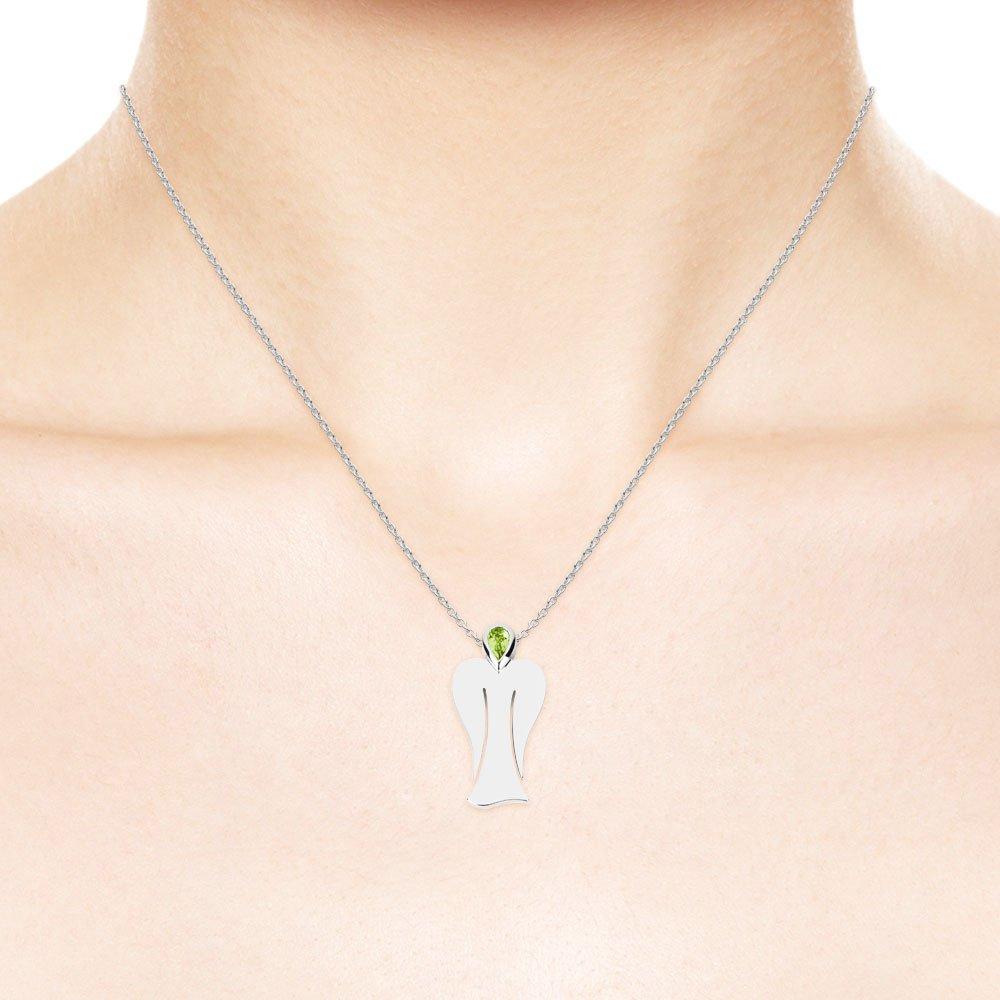 MyAngel Schutzengel-Anhänger mit Peridot in Silber mit Kette (medium)