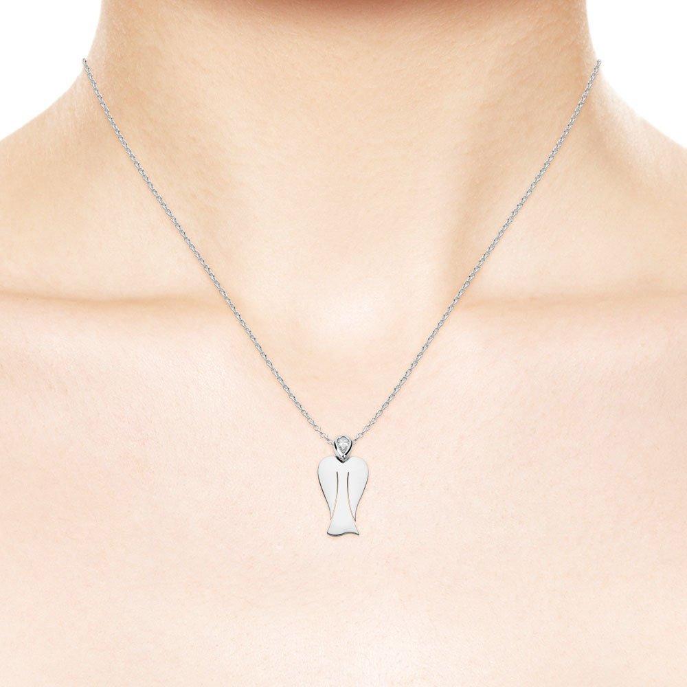 MyAngel Schutzengel-Anhänger mit Diamant in Weißgold mit Kette (small)